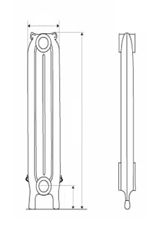 Narrow Prince Cast Iron Radiators Diagram