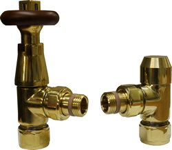 European Wooden Thermostatic Radiator Valve - Brass