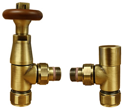 Ottinetti Thermostatic Wooden Radiator Valve - Antique Brass