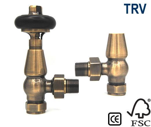 York Thermostatic Radiator Valves - Antique Brass