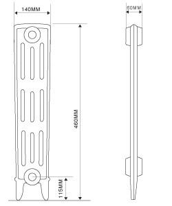 4 Column Cast Iron Radiator 460mm high