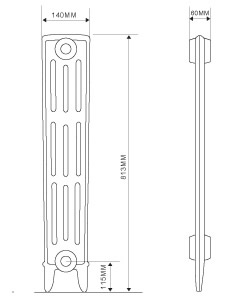 4 Column Cast Iron Radiator 813mm high diagram
