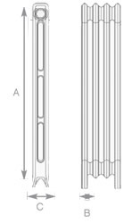 Edwardian 2 Column Cast Iron Radiators Diagram