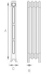2 Column Cast Iron Radiator Diagram