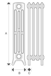 Diagram of Sovereign 4 Column 760mm Cast Iron Radiators