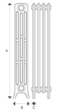Diagram of Sovereign 4 Column 960mm Cast Iron Radiators