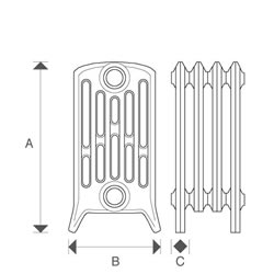 Diagram of Sovereign 6 Column 485mm Cast Iron Radiators