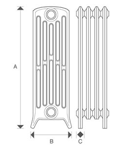 Diagram of Sovereign 6 Column 760mm Cast Iron Radiators