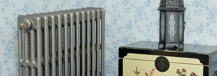 french grey painted 4 column Cast Iron Radiators